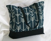 Arrows on Dark Blue -Zippered Beach Tote- Overnight Bag- 6- Outer Pockets Water and Mildew Resistant Interior