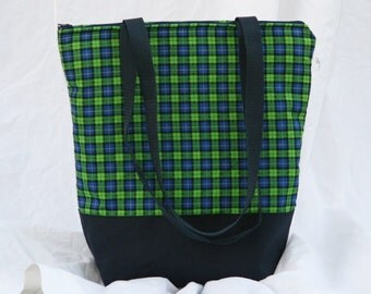Ready To Ship Green-Blue Plaid Fully Insulated Lunch Bag-Tote-Eco-Friendly and Washable-Water and Mildew Resistant Interior -Large-Tall Size