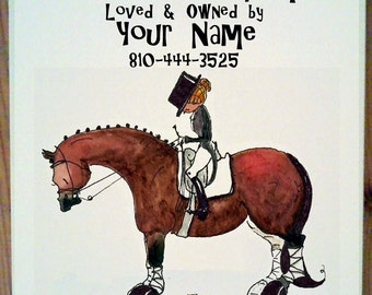 Salute. Dressage Horse Stall Sign with up to four lines of personalization.
