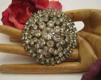Vintage retro bold rhinestone big brooch, multi shaped clear rhinestones domed round pin, runway glamour silvertone clear rhinestones brooch