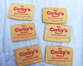 Vintage Whiskey Advertising Bar Sponge Corby's Reserve American A Whiskey 1950's