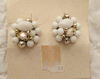 Vintage Clip Earrings White and Gold Beaded New Old Stock SALE