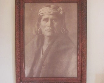 Vintage Sepia Indian Chief Photo in Antique Gesso on Wood Frame