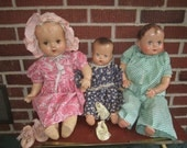 Vintage 1930s Lot of 3 Composition Baby Dolls with Extra Period Clothing