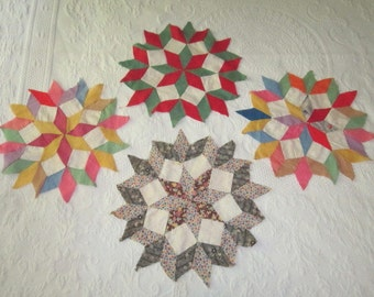 Vintage 1930s/40s Lot of 4 Large Cotton Star Quilt Blocks