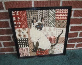 Vintage Beautiful Large Framed Siamese Cat Needlepoint Wall Hanging