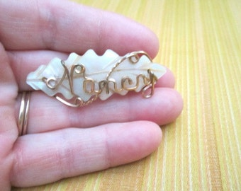 Vintage 1920s Beautiful Gold Fill Wire and Carved Mother of Pearl Leaf NANCY Name Brooch