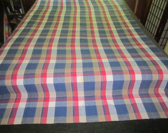 Vintage 54x90 Made in India 100% Cotton Red Blue Plaid Tablecloth