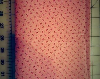 Vintage Calico Cotton Pink Floral over 1-1/2yd