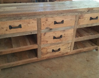 YOUR Custom Made Rustic Barn Entertainment center or Dresser with Shelves and Free Shipping BWECDS1300F