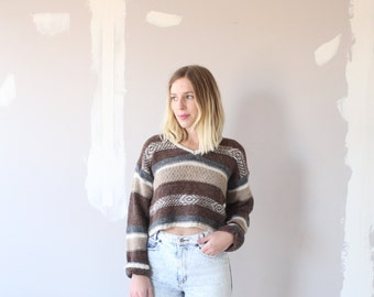 Vintage taupe striped sweater