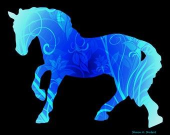 Monochromatic Blue Flowery Pony, Photomontage Fantasy Art, Child's Horse, Feminine Room Decor, Nursery Wall Hanging, Giclee Print, 11 x 14
