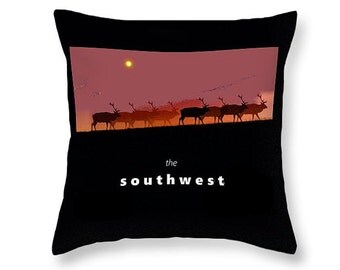 Southwestern Throw Pillow, Elk Home Decor, Decorative Purple Orange Black, Wild Animal, Western Couch Cushion, Home Interior Men or Women