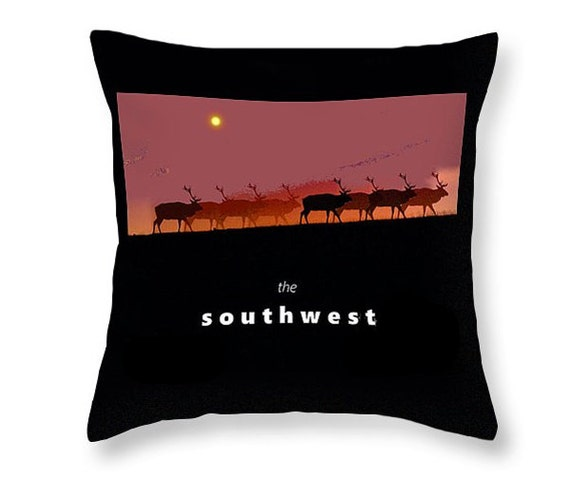 Southwestern Throw Pillows For Couch : Southwestern Throw Pillow Elk Home Decor Decorative Purple