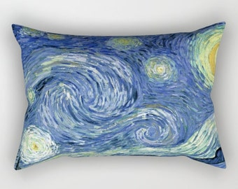 Van Gogh Starry Night Decorative Lumbar Pillow, Art Pillow, Lumbar Throw Pillow, Starry Night Decor