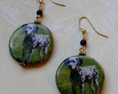 Dalmatian Earrings-decoupage beads with pearls, green and black, 2 1/2 inches or 6.5 cm
