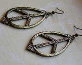 Oblong Peace Sign Earrings-brass metal and rhinestones, 2 1/2 inches or 6.5 cm