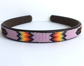 Headband - Navajo-Beaded - Pink - Native American