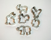 Animal Cookie Cutter Collection, Rooster,Rabbit, Squirrel, Goat, Chicken, Elephant