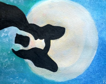 Boston Terrier, Original Painting, Watercolor, Moon, Sky