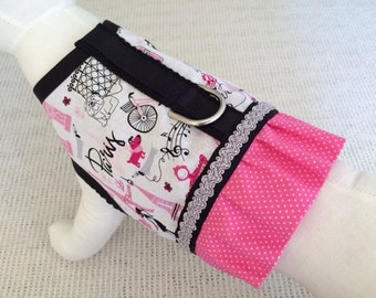 Paris Pink Polka Dot Ruffle Dog Harness Vest