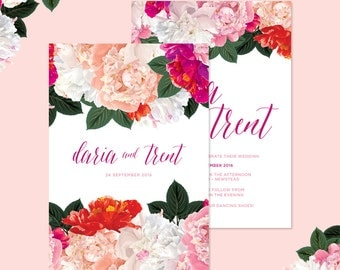 Bright and Fun Floral Wedding Invitations • Ready to Post Invitations • Pink and Peach Peonies with Elegant Calligraphy