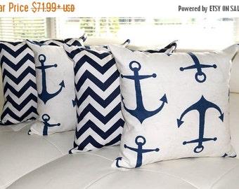 Nautical Pillow - Nautical Anchors Navy Blue, Chevron Zig Zag Navy Blue and Seahorse Navy Blue Throw Pillow - Free Shipping - 16x16