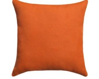 Solid Orange Outdoor Pillow - Cambria Sunset Orange STUFFED Outdoor Throw Pillow - Orange Solid Accent Pillow - Patio Pillow - Free ship