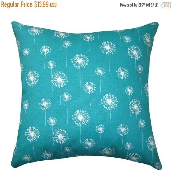 Turquoise Throw Pillow Floral Pillow Small by LandofPillowsDotCom