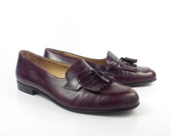 Ferragamo Loafers Shoes Vintage 1980s Burgundy Leather men's size 9 EE