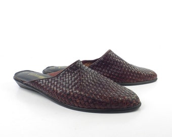 Woven Leather Shoes Brown Vintage 1980s Flats Loafers Mules Women's size 9