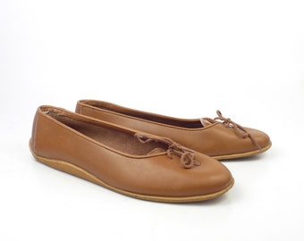 Brown Flats Shoes Vintage 1980s Giorgio Armani Carmel Leather Women's size 37