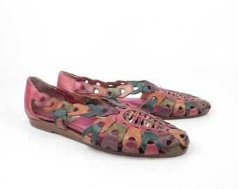 Leather Woven Sandals Vintage 1980s Premier Multicolor Huaraches Women's size 7