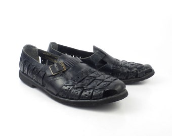 Black Huarache Sandals Vintage 1980s Stacy Adams Woven Leather Men's Size 9