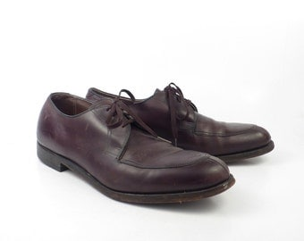 Burgundy Oxford Shoes Leather Vintage 1970s ET Wright Men's size 11 B