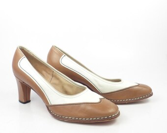Spectator Heel Shoes Vintage 1970s  Heels Affiniti Women's size 6 A