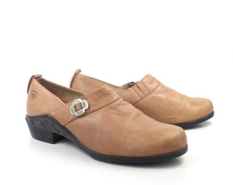 Ariat Shoes Clogs Vintage 1990s Tan Brown Leather Shoes Women's size 8 B