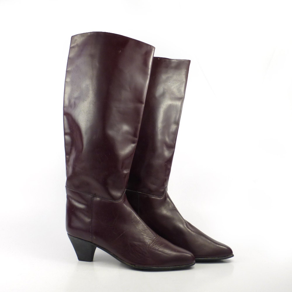 charles david boots vintage 1980s burgundy leather