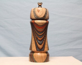 6 Inch HARDWOOD and COLORWOOD PEPPERMILL Number 1351