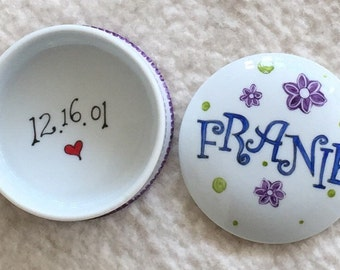 Hand painted porcelain custom personalized monogrammed box