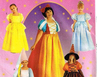 Storybook Costume Pattern Snow White, Belle, Rupunzel, Witch Princess McCalls P211 2856 Girls Child Size 10 12 14 Sewing Pattern Children