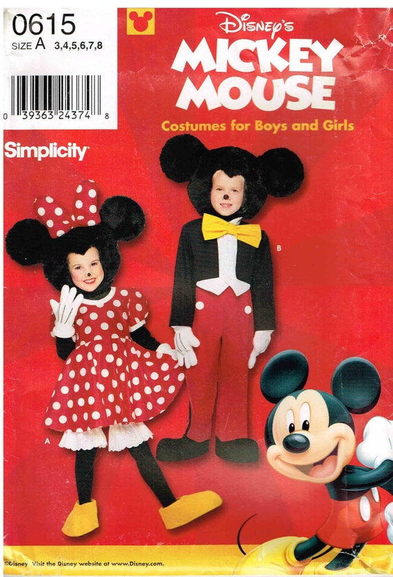 Disney Child Mickey Minnie Mouse Sewing Pattern Halloween
