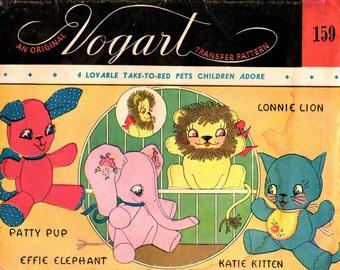 Vintage Toy PATTERN 159 Lion Kitten Elephant Puppy 4 Stuffed 8 x8 inch Animals in PDF format Instant Download