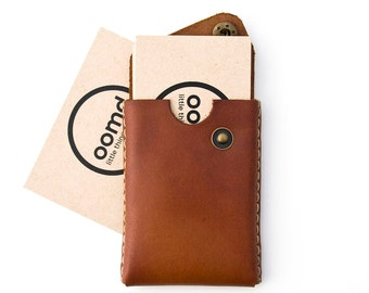 Minimalist Leather Card Case - The 'Card trick' - Hand Dyed Chestnut - Hand Stitched - FREE SHIPPING