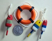 Miniature Life Ring and 3 Buoys  1:12 scale