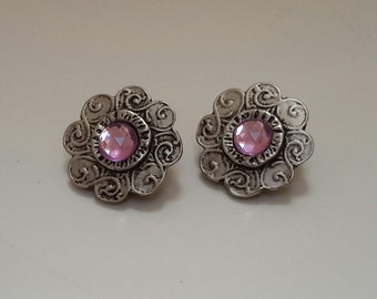Pewter Flower Clip On Earrings with Amethyst