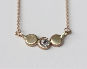 Diamond Pebble Necklace in 14k Solid Gold - Organic 3 Dots Pendant