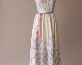 Stunning 70s Floral Boho Dress Small