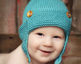 Knitting Pattern For Toddler Hat With Earflaps : Baby Hat Pattern PDF Knitting Pattern Baby Beanie Hat