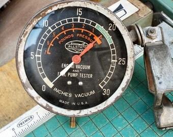 Vintage Engine Vacuum,  Fuel Pump Tester, Allstate, auto test equipment, rat rod garage,  man cave, car guy gift